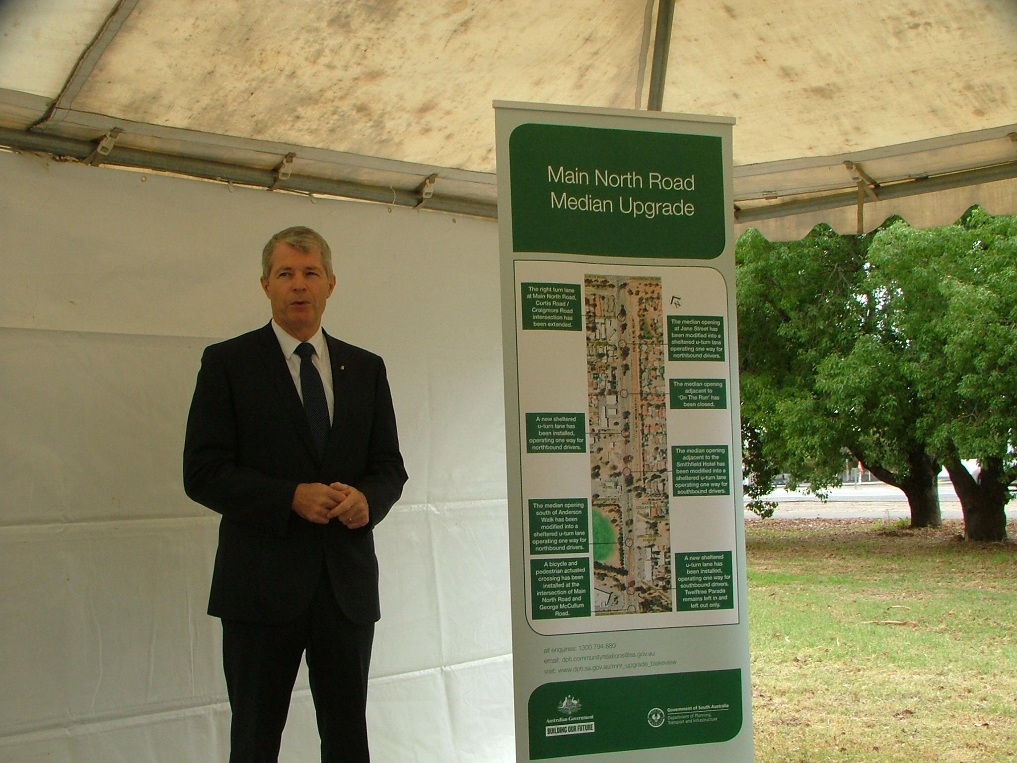 Main North Road Median Upgrade project opened by Senator David Fawcett